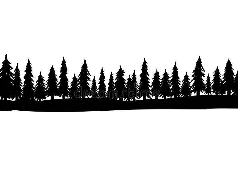 圣诞节冷杉木剪影森林  具球果云杉的全景 常青木头公园  在白色背景的传染媒介 向量例证