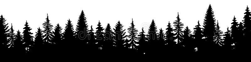 圣诞节冷杉木剪影森林  具球果云杉的全景 常青木头公园  E 库存例证