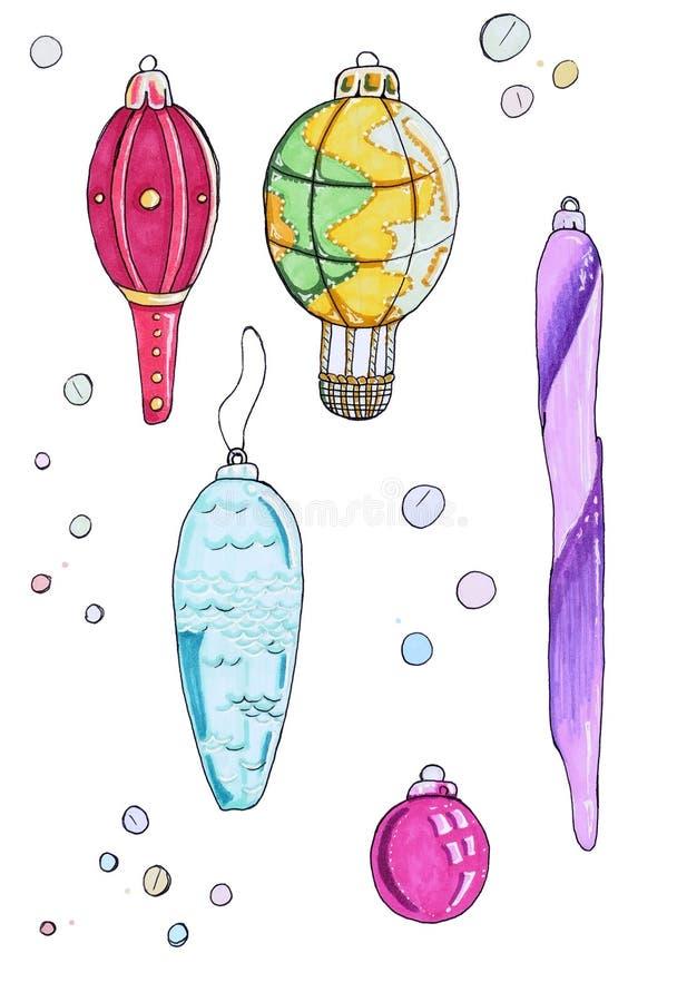 圣诞节减速火箭的玩具 冬天奇迹 皇族释放例证
