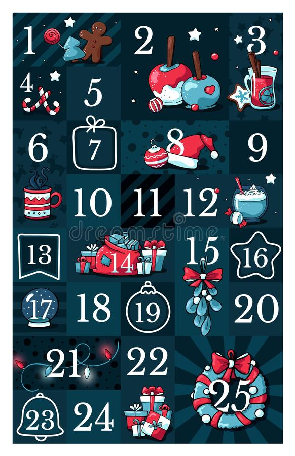 圣诞节出现日历,逗人喜爱的手拉的乱画样式 二十五个圣诞节读秒可印的标记收藏与 向量例证