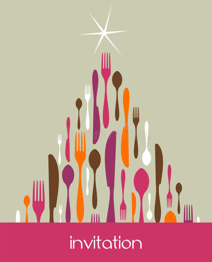 圣诞节刀叉餐具做结构树 皇族释放例证