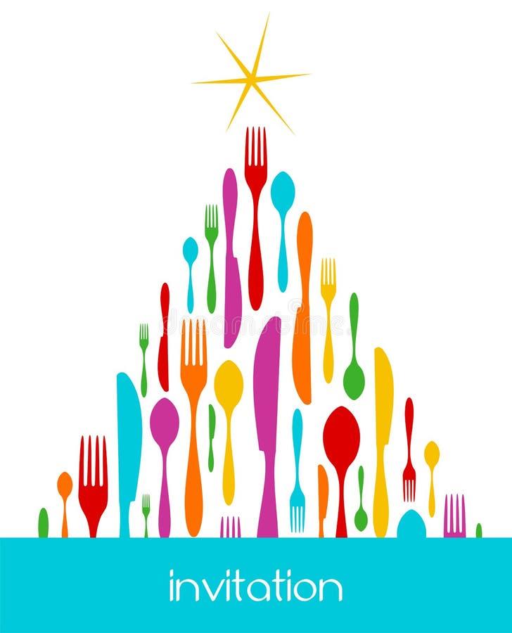 圣诞节刀叉餐具模式结构树 皇族释放例证