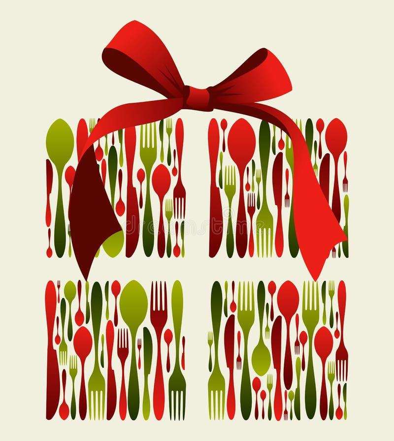 圣诞节刀叉餐具礼品 向量例证