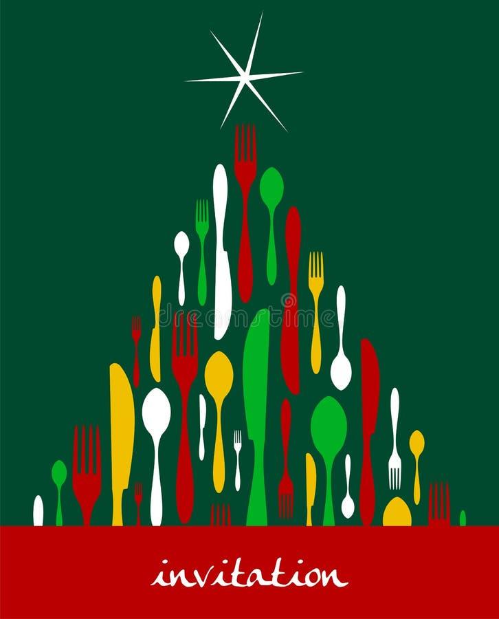 圣诞节刀叉餐具结构树 皇族释放例证