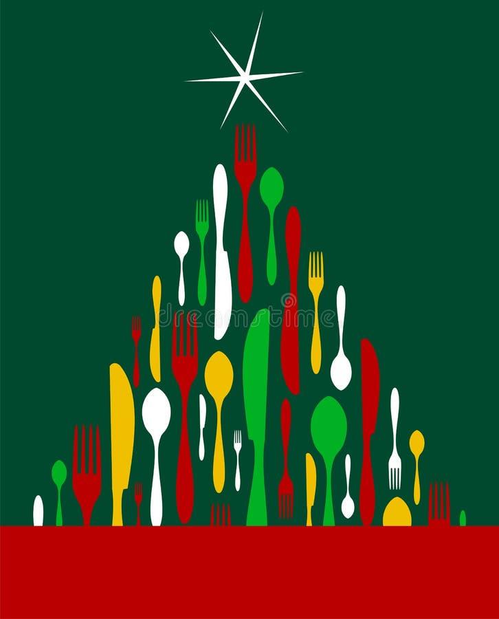 圣诞节刀叉餐具结构树 向量例证