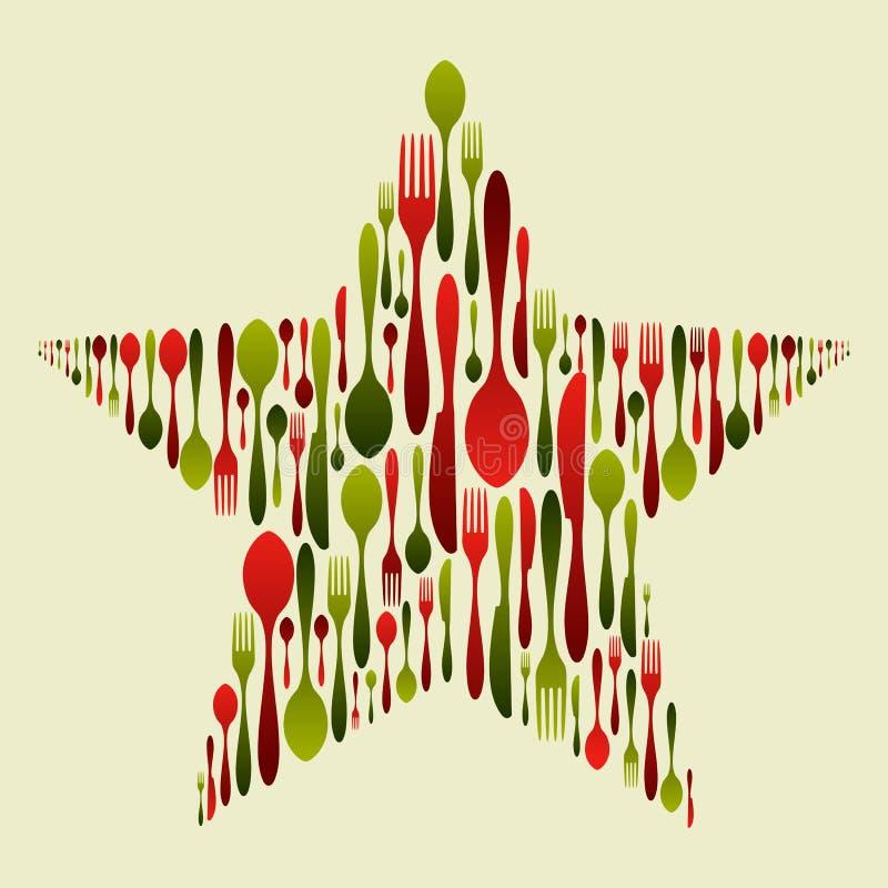 圣诞节刀叉餐具集合星形 库存例证