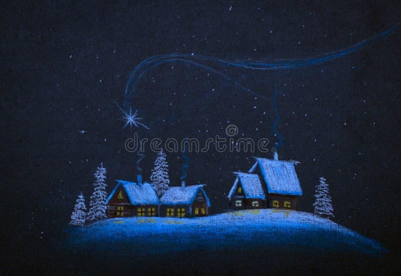 圣诞节分数维图象晚上星形 库存例证