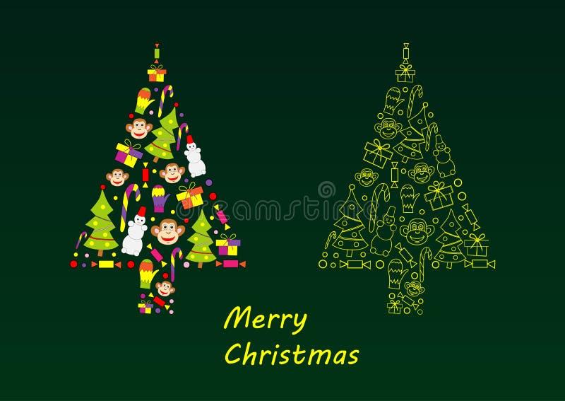 圣诞节剪影结构树向量 向量例证