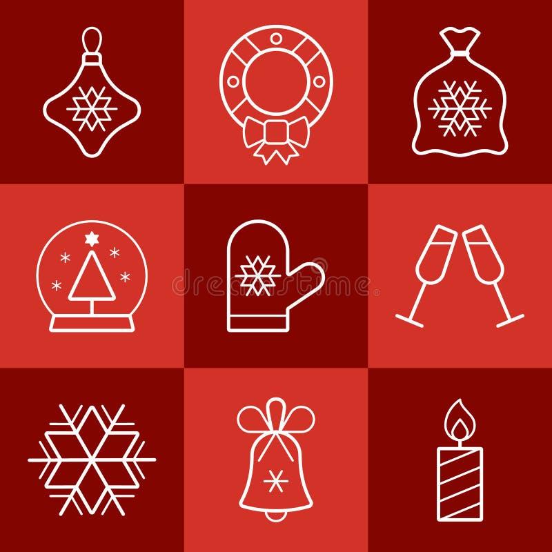 圣诞节剪报包含被设置的数字式图标例证路径 库存图片