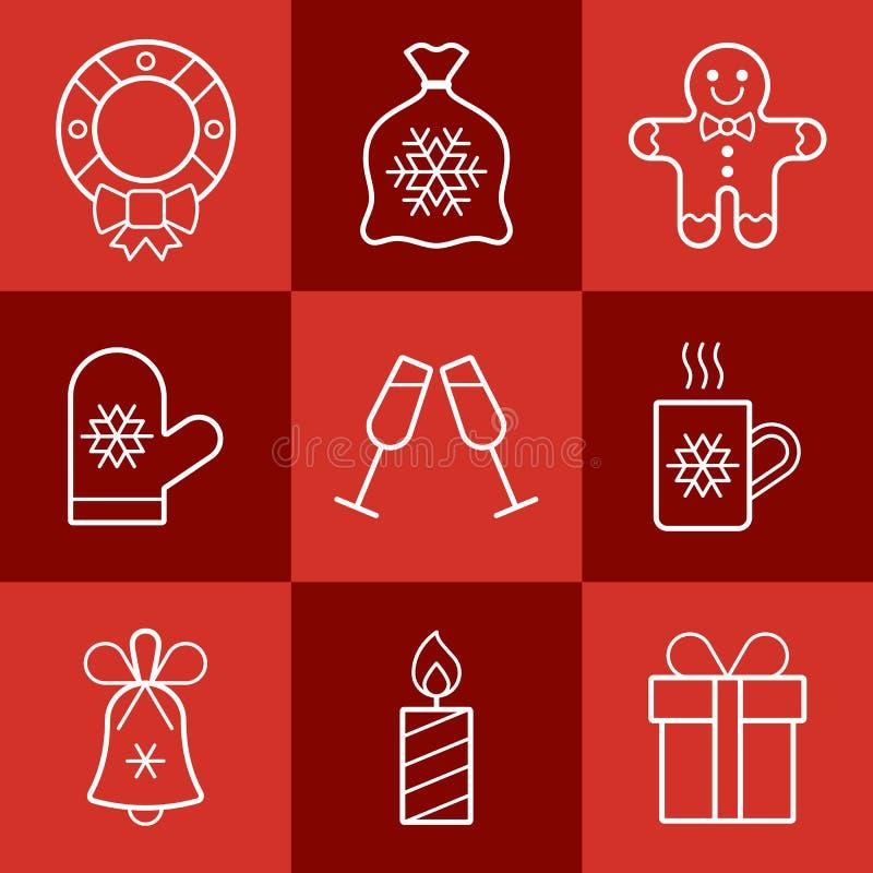 圣诞节剪报包含被设置的数字式图标例证路径 图库摄影
