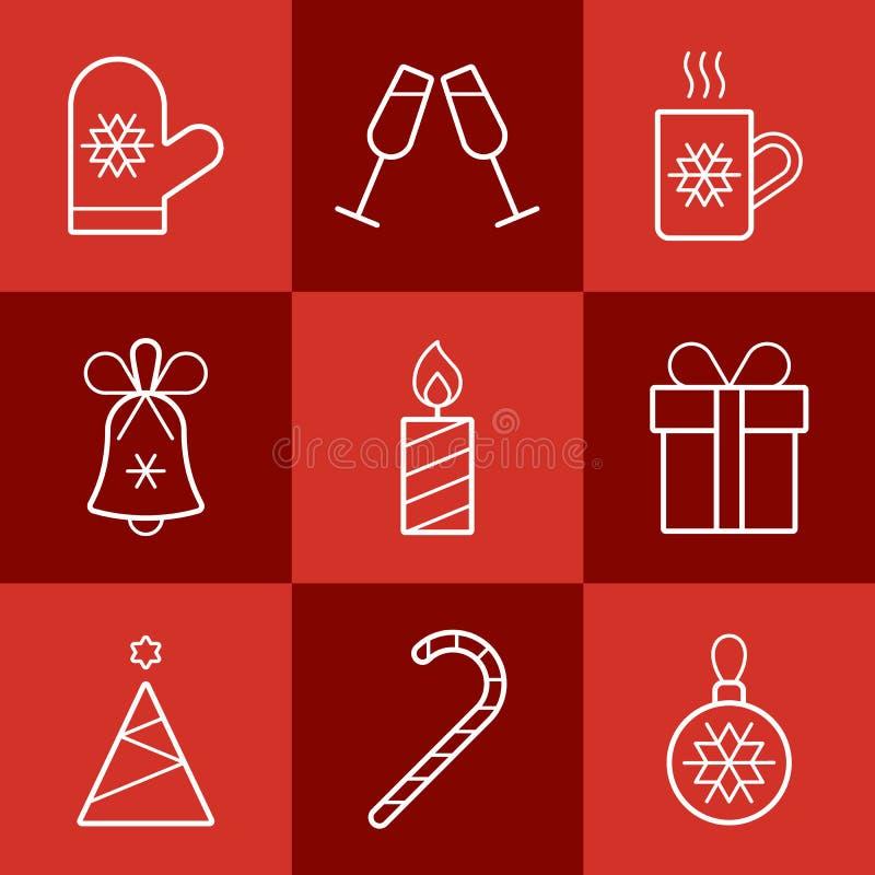 圣诞节剪报包含被设置的数字式图标例证路径 免版税库存图片