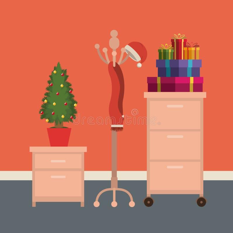 圣诞节办公室与文件柜的工作场所场面和圣诞节装饰和礼物 向量例证