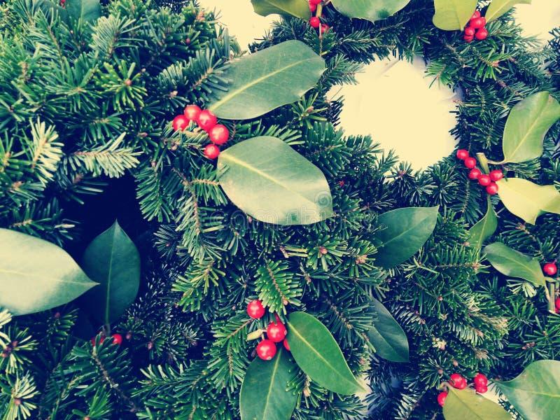 圣诞节加冠在老木背景的构成 杉木和月桂树分支-葡萄酒减速火箭的圣诞节概念顶视图  免版税库存图片