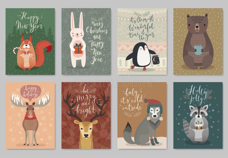 圣诞节动物卡集,手拉的样式 向量例证