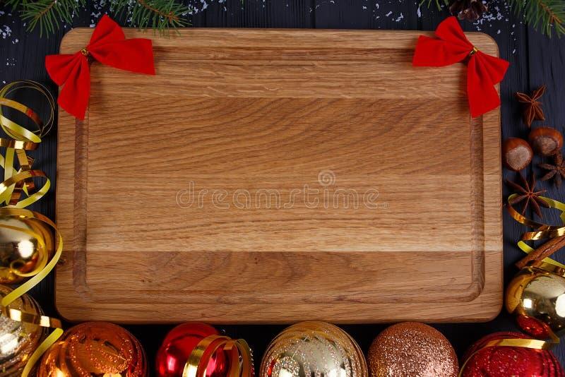 圣诞节厨房,欢乐晚餐,假日食物背景 冷杉 免版税库存图片