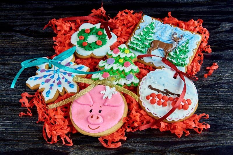 圣诞节各种各样的姜饼曲奇饼 免版税库存照片