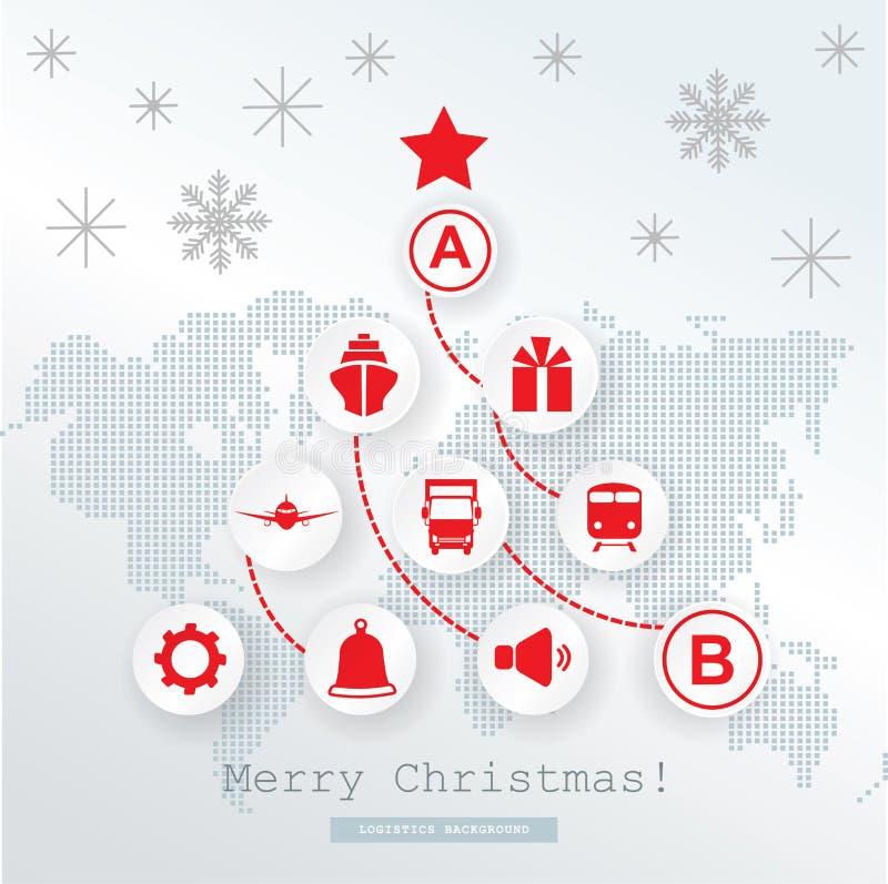 圣诞节后勤学卡片 在概要世界地图的概要圣诞树 在白色灰色背景的红色象 向量例证