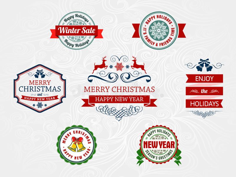 圣诞节和假日徽章 库存例证