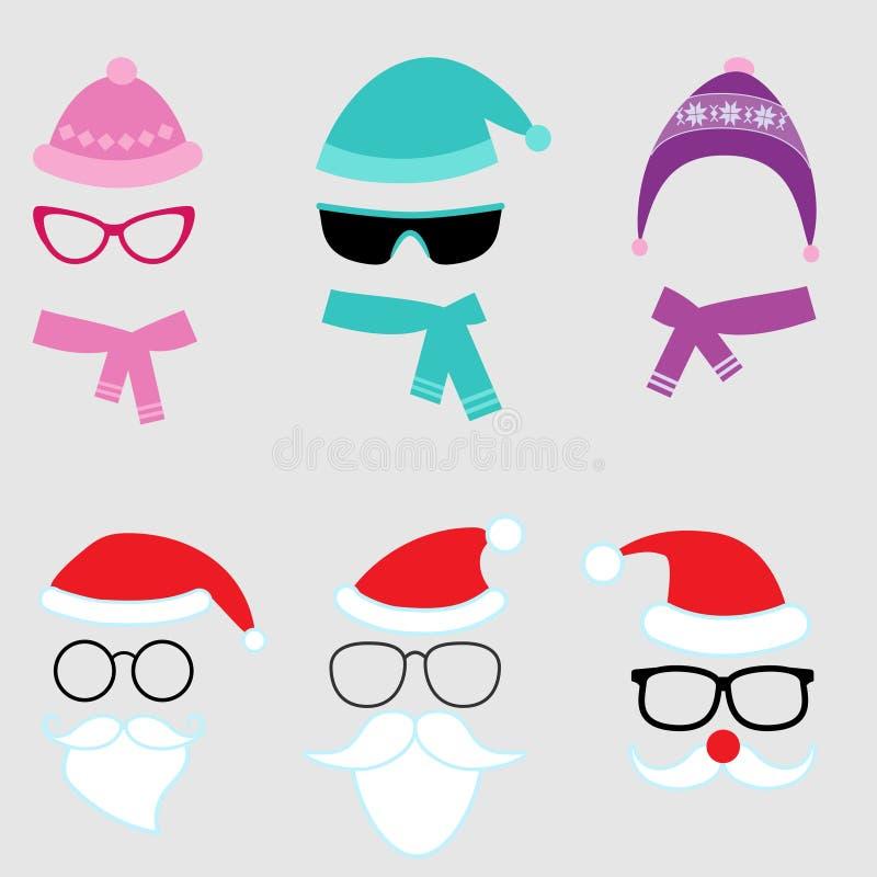圣诞节和冬天传染媒介集合 库存例证