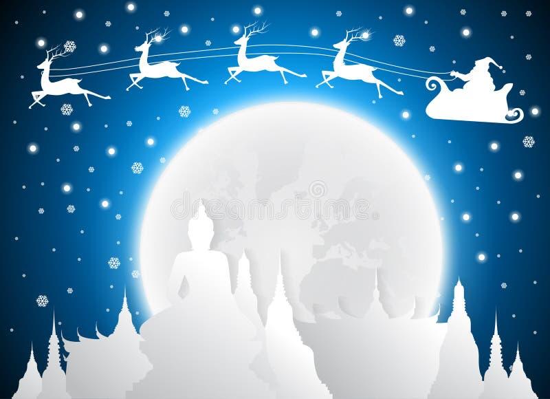 圣诞节和圣诞老人在寺庙泰国地标和剪影,满月 向量例证