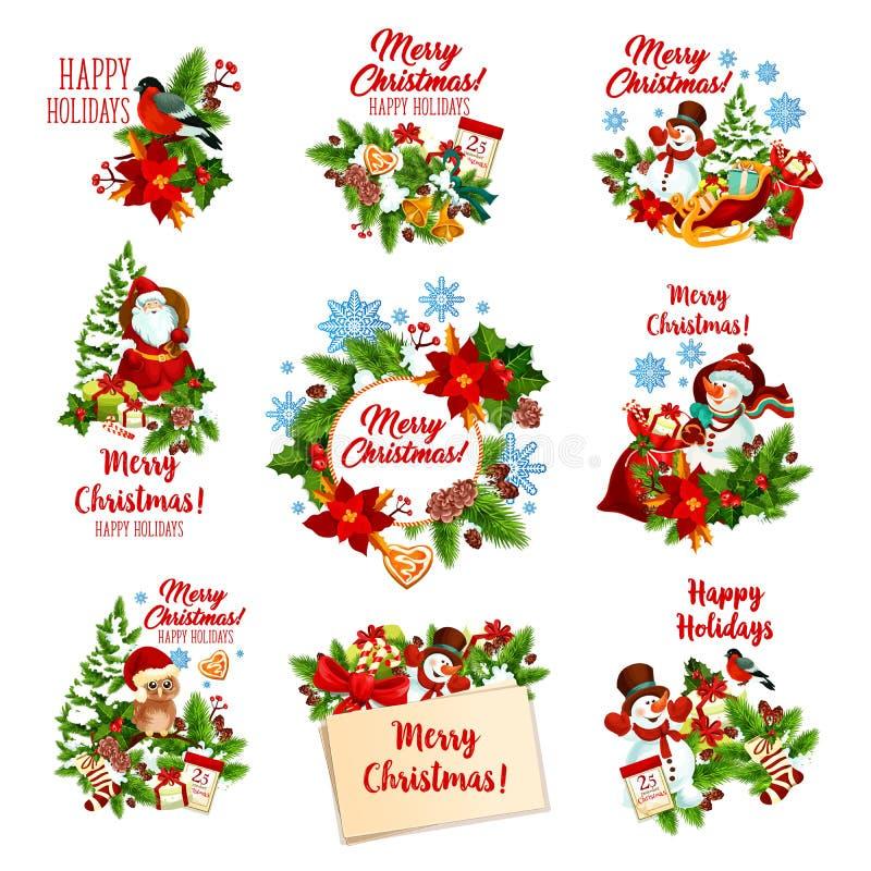 圣诞节和寒假欢乐徽章 向量例证