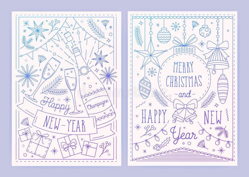 圣诞节和新年与在线性样式画的欢乐装饰-丝带的明信片的汇集模板 向量例证