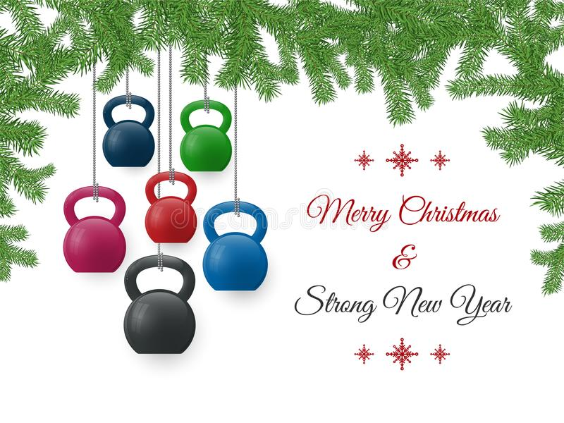 圣诞节和新年与kettlebells和杉木的贺卡分支 库存图片