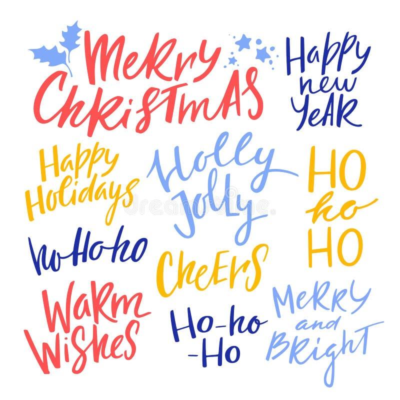 圣诞节和新年书法词组 传染媒介手写的行情 假日问候的现代字法 库存例证