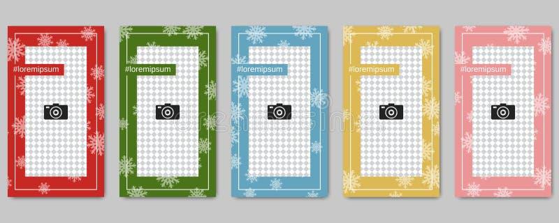 圣诞节和新年人脉故事编辑可能的传染媒介模板 库存例证