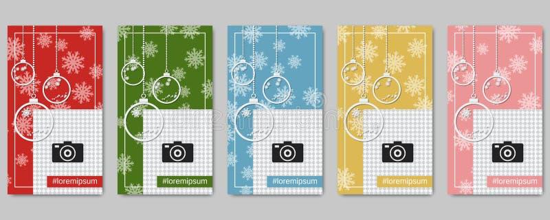 圣诞节和新年人脉故事编辑可能的传染媒介模板 向量例证
