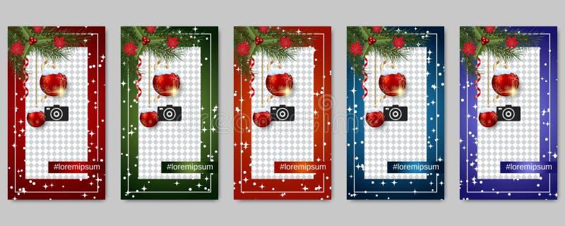 圣诞节和新年人脉故事编辑可能的传染媒介模板 皇族释放例证