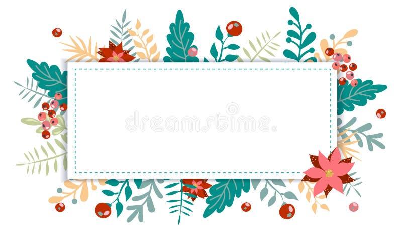圣诞节和新年元素,您的设计的海报 皇族释放例证