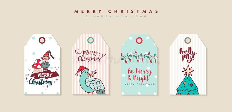 圣诞节和新年动画片假日标号组 库存例证