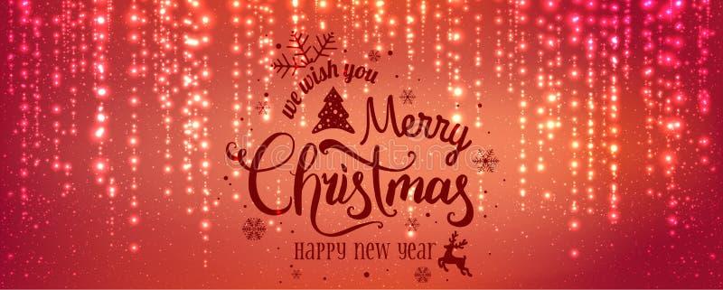 圣诞节和新年印刷在与发火花,光,星的红色背景 发光的闪烁光线影响 皇族释放例证
