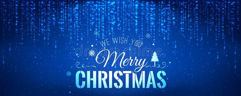 圣诞节和新年印刷在与发火花,光,星的蓝色背景 发光的闪烁光线影响 皇族释放例证