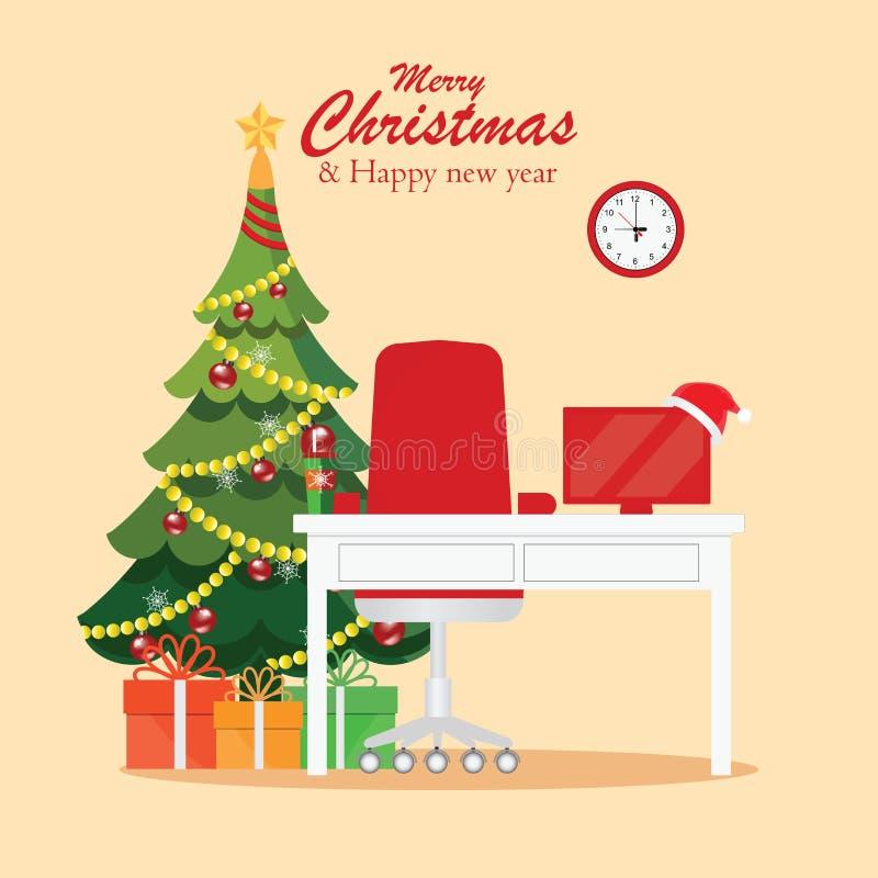 圣诞节和新年在现代办公室工作场所内部 向量例证