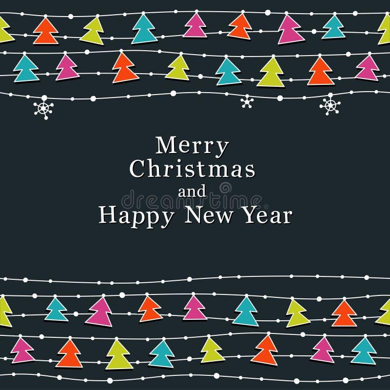 圣诞节和新年度看板卡 向量例证