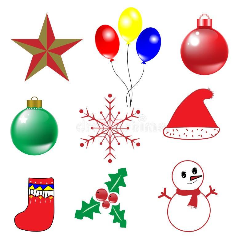 圣诞节和新年快乐传染媒介的9个对象 库存例证