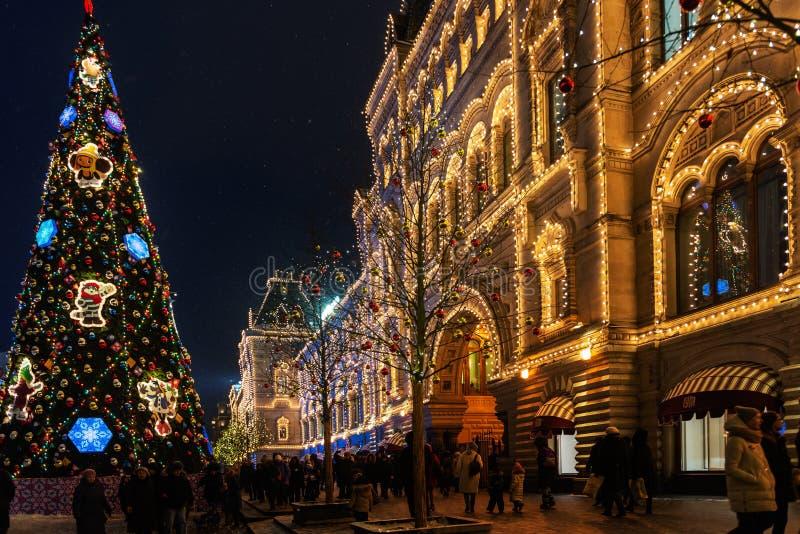 圣诞节和新年时间在红色大地主的莫斯科 库存照片