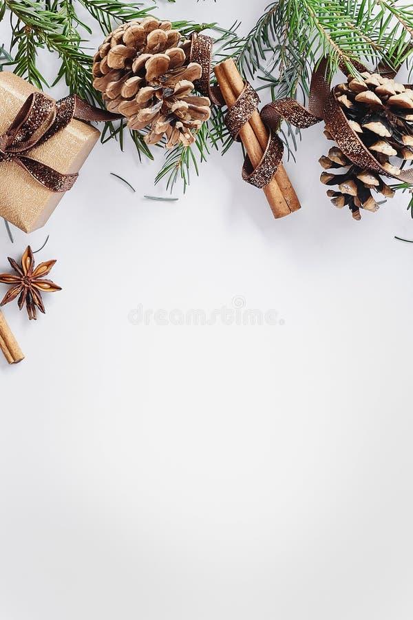 圣诞节和新年构成 有丝带的,冷杉礼物盒分支与锥体,八角,在白色背景的桂香 库存照片