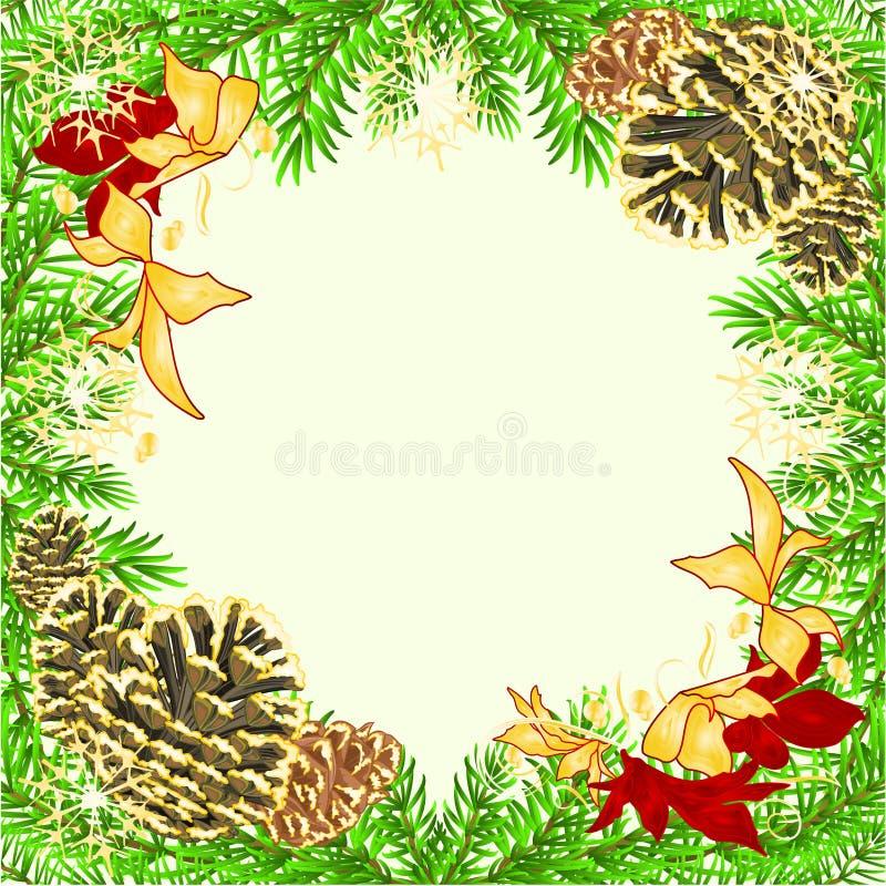 圣诞节和新年框架装饰红色和金黄一品红云杉的树枝杉木锥体和金黄雪花葡萄酒ve 皇族释放例证