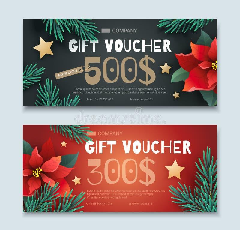 圣诞节和新年礼券 库存例证