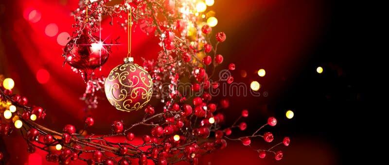 圣诞节和新年红色装饰 抽象节假日背景 免版税库存照片