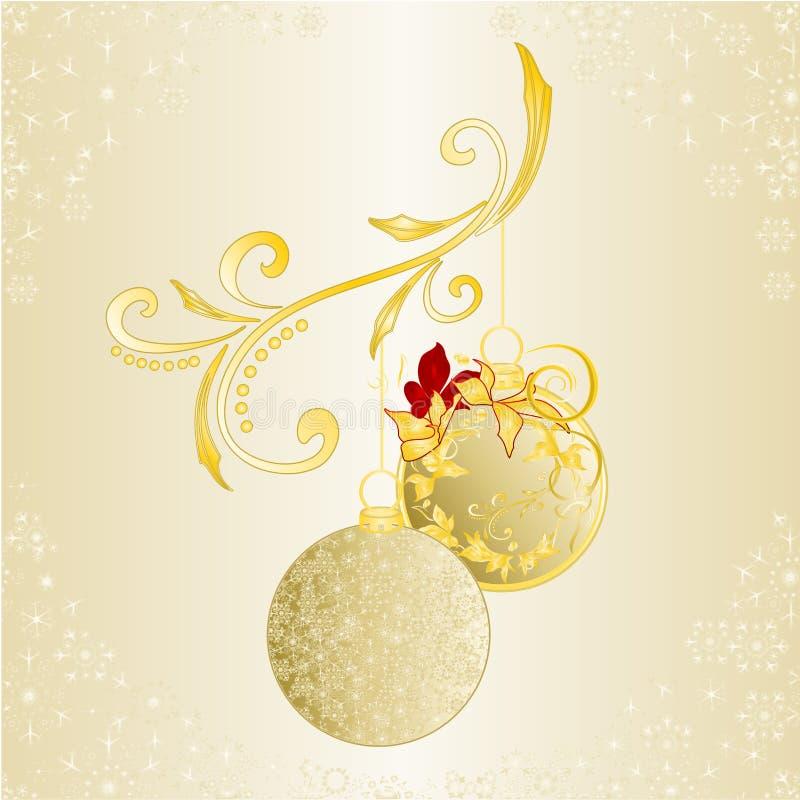 圣诞节和新年背景圣诞节金黄装饰品和金黄雪花和一品红编辑可能葡萄酒的传染媒介 库存例证
