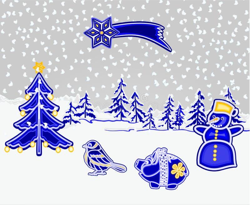 圣诞节和新年装饰冬天使有雪的森林环境美化与贪心雪人鸟树彗星作为精巧彩色陶器葡萄酒传染媒介 库存例证