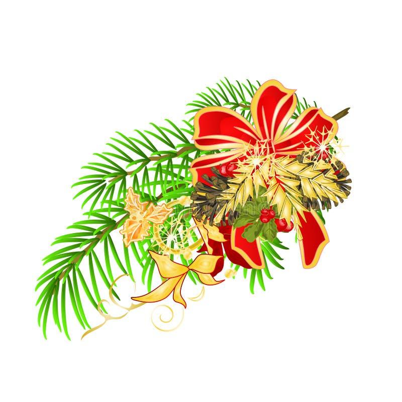 圣诞节和新年装饰圣诞节云杉树弓欢乐一品红和弓和杉木锥体假日图象设计的v 皇族释放例证