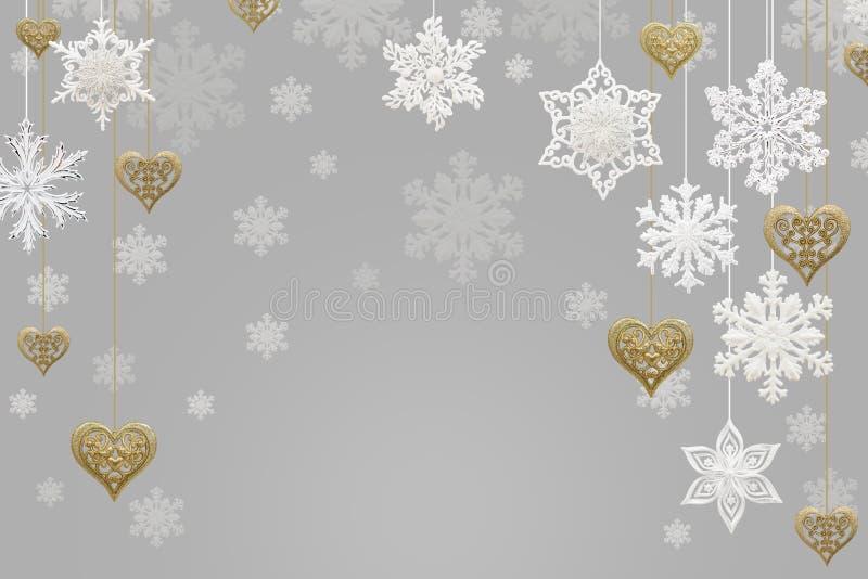 圣诞节和新年装饰:雪花和金黄心脏 皇族释放例证