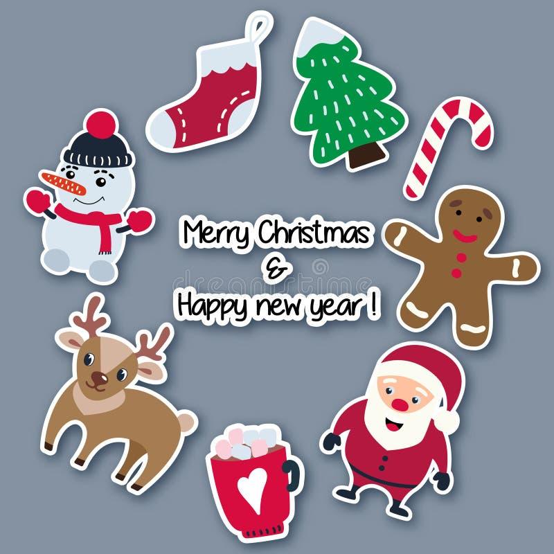 圣诞节和新年贴纸由与阴影的纸制成,安排在圈子 库存例证
