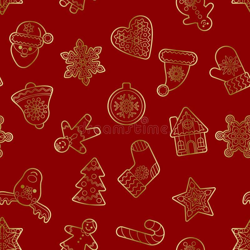 圣诞节和新年金子概述无缝的样式 皇族释放例证