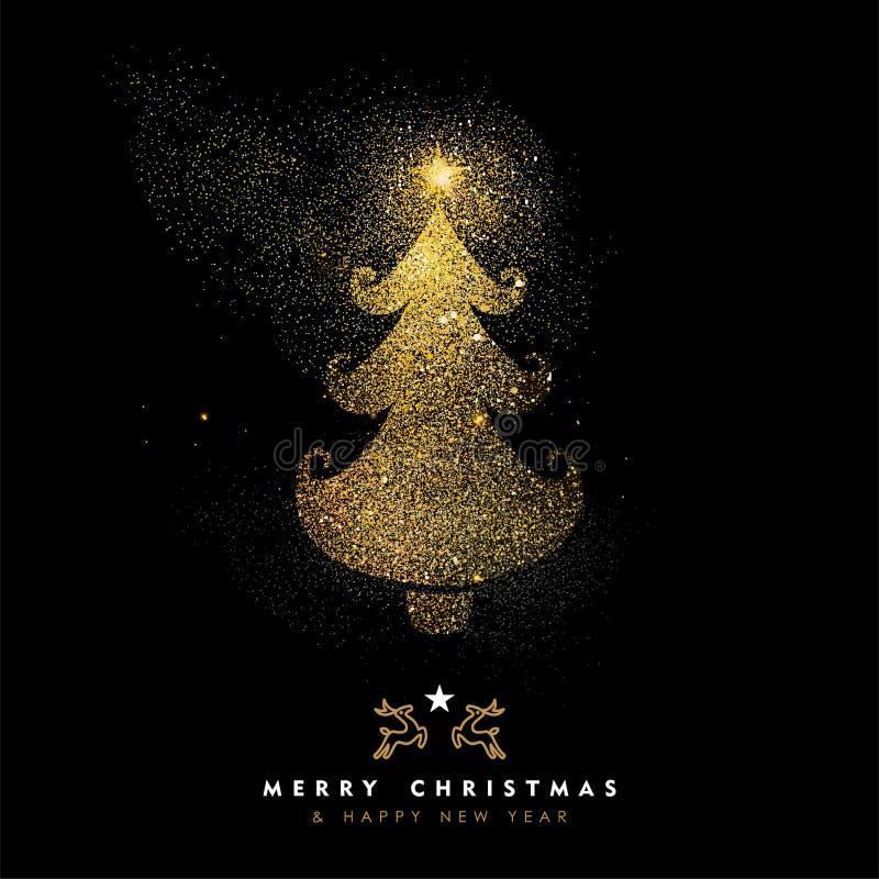 圣诞节和新年金子闪烁杉树卡片 向量例证